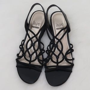 IMPO Stretch Reign Low Wedge Strappy Sandals 7.5